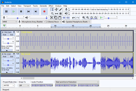 grabar audio en windows Audacity interfaz